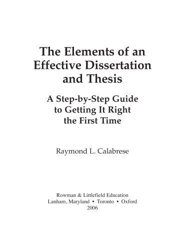 The elements of an effective dissertation and thesis