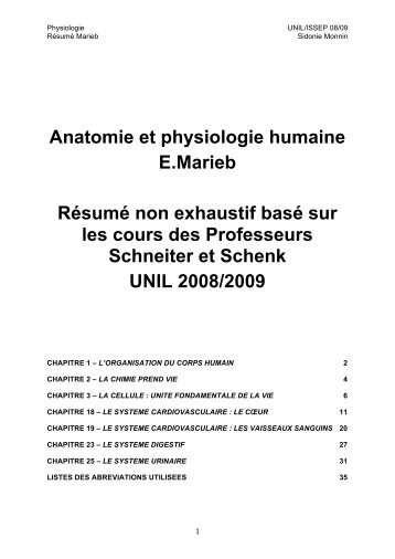 Pdf Anatomie Et Physiologie Humaines
