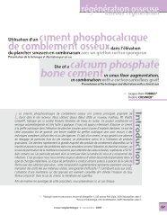 Utilisation d'un ciment phosphocalcique de comblement ...