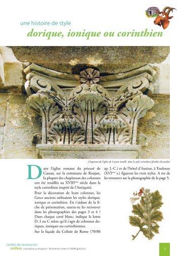 une histoire de style dorique, ionique ou corinthien - Vailhan