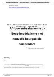 Afrique subsaharienne : « Sous-impérialisme » et nouvelle ... - cadtm