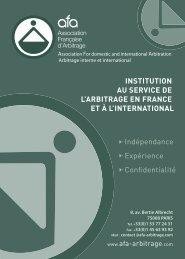 Arbitrage interne et international - AFA