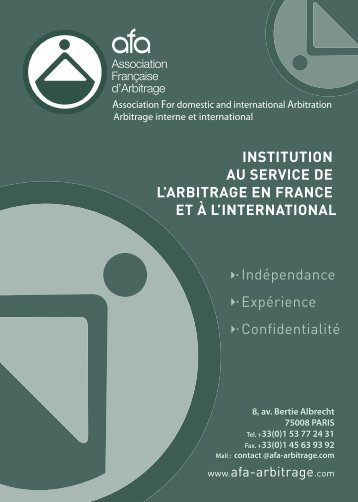 Arbitrage interne et international - AFA