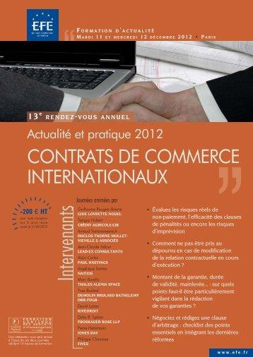 CONTRATS DE COMMERCE INTERNATIONAUX - Efe