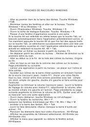 TOUCHES DE RACCOURCI WINDOWS - Aller au ... - Nouvelle page 1