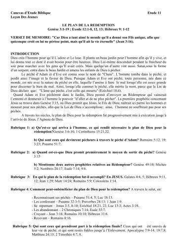 Canevas d'Etude Biblique Etude 11 Leçon Des Jeunes LE PLAN DE ...