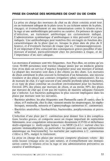 PRISE EN CHARGE DES MORSURES DE CHAT OU DE ... - CBIP