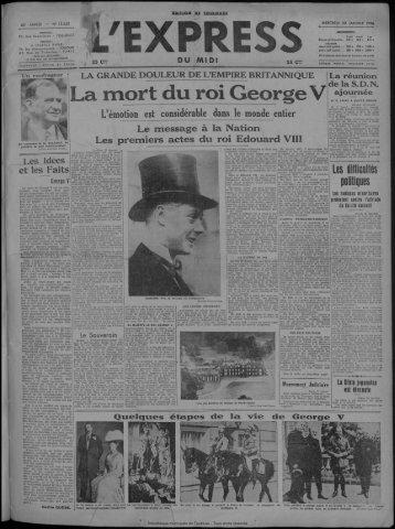 a mort du roi George V - Bibliothèque de Toulouse