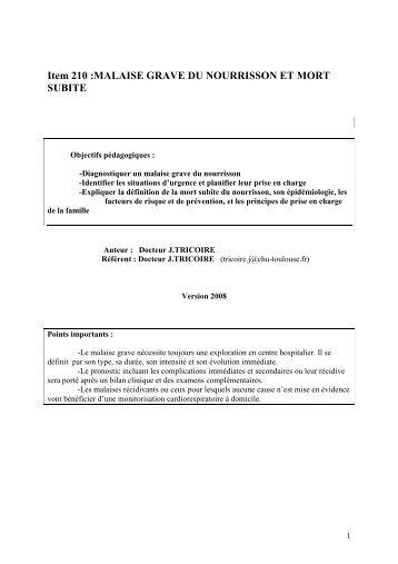 Item 210 Malaise grave Mort subite.pdf - Facultés de Médecine de ...