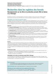 Recherches dans les registres des brevets