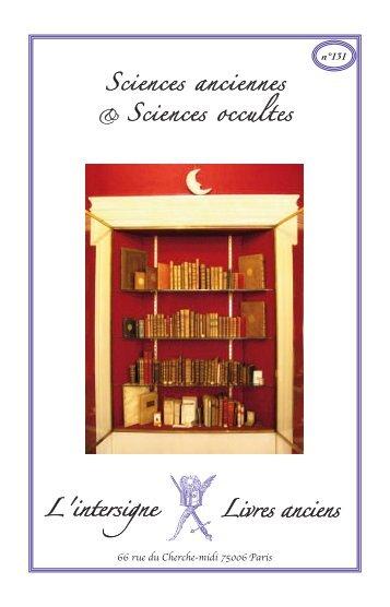n°131 Sciences anciennes Sciences occultes - L'Intersigne Livres ...