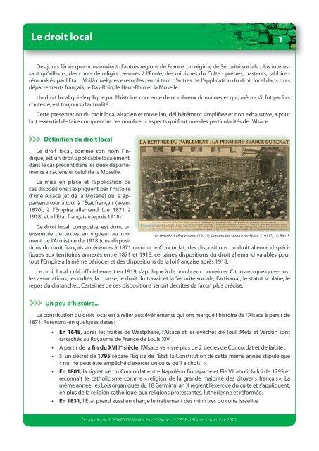 Le Droit Local Crdp De L Academie De Strasbourg