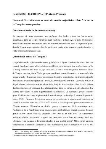 Comment être chiite dans un contexte sunnite ... - Sciences Po Aix