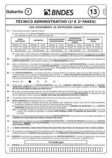 PROVA 13 -GAB 1 - TÉCNICO ADMINISTRATIVO ... - Concursos