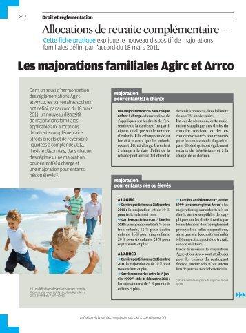 Allocations de retraite complémentaire - Agirc et Arrco