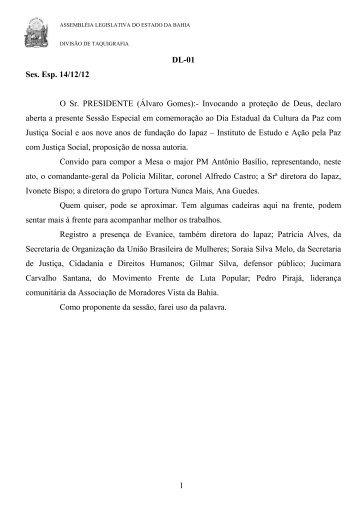 DL-01 Ses. Esp. 14/12/12 O Sr. PRESIDENTE (Álvaro Gomes ...