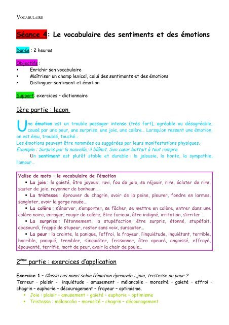 Séance3 Le Vocabulaire Des Sentiments Et Des émotions Tutolettres