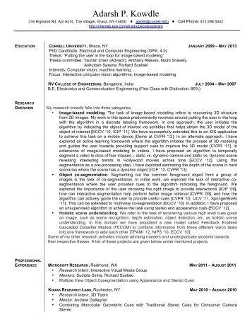 Adarsh Kowdle Resume - Cornell University