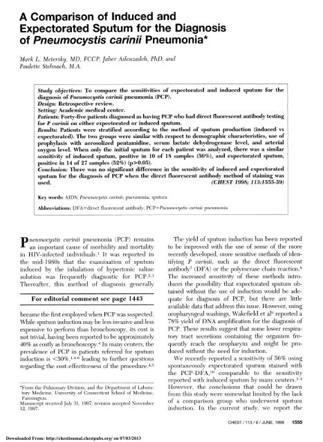 Expectorated Sputum for the Diagnosis of Pneumocystis
