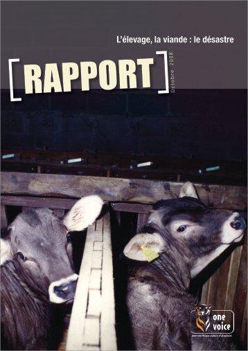 L'élevage, la viande : le désastre - One Voice