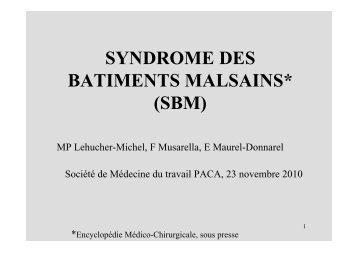 SYNDROME DES BATIMENTS MALSAINS* (SBM) - Accueil