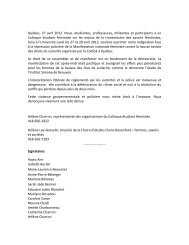Québec, 27 avril 2012. Nous, étudiantes ... - Université Laval