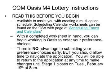 Instructions for using the M4 Lottery Preference - Choice Application
