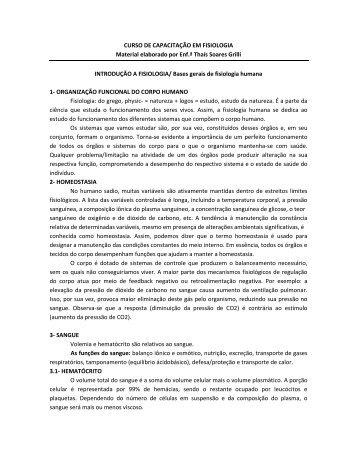 CURSO DE CAPACITAÇÃO EM FISIOLOGIA Material elaborado por ...