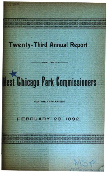 Annual report of West Chicago Park ... - Chicago Cop.com