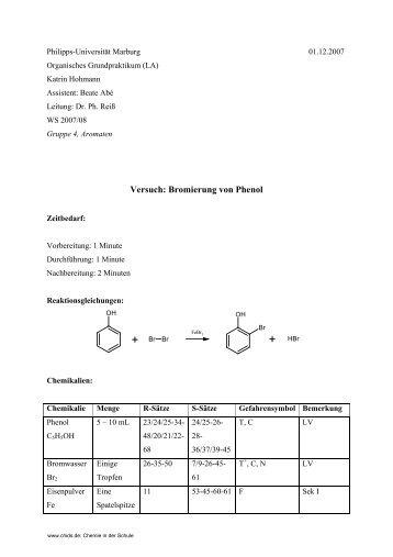 Versuch: Bromierung von Phenol - ChidS
