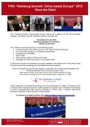 """Hamburg Summit: China meets Europe"" 2012 Save the Date!"
