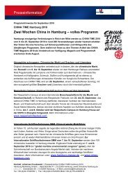 Programmhighlights - CHINA TIME Hamburg 2012 - Hamburg