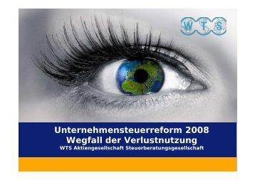 Unternehmensteuerreform 2008 Wegfall der Verlustnutzung Was ...
