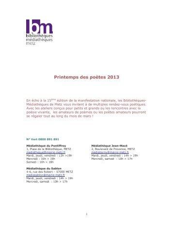 Printemps des poètes 2013 - Médiathèque de Metz