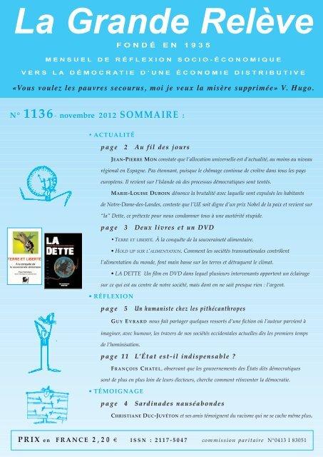 N° 1136 novembre 2012 - Association pour l'Économie Distributive
