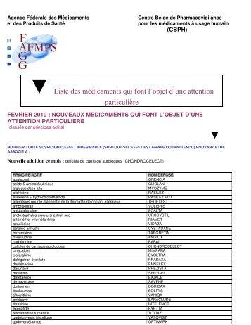 Liste des médicaments qui font l'objet d'une attention ... - CBIP