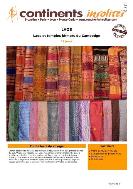 Laos et temples khmers du Cambodge - Continents Insolites