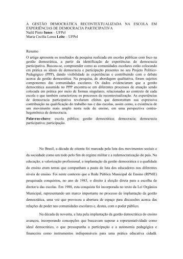 A GESTÃO DEMOCRÁTICA RECONTEXTUALIZADA NA ... - ANPEd