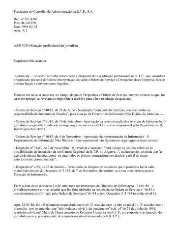 Presidente do Conselho de Administração da R.T.P., S.A. Rec. nº 50 ...