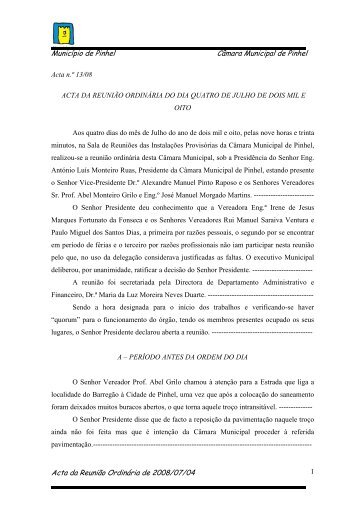 Acta nº 13 - 04/07/2008 (110 KB) - Câmara Municipal de Pinhel