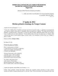 17 junho de 2012 Décimo primeiro domingo do Tempo ... - Diaconia