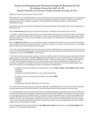 Trousse d'information pour Nouveaux Groupes du ... - Mind Shelter