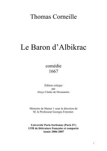 Le Baron d'Albikrac - CRHT - Université Paris-Sorbonne