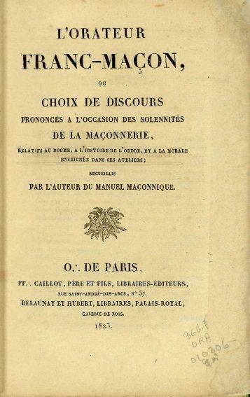 L'orateur franc-maçon - Bibliothèque numérique de Sceaux