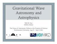 Gravitational Wave Astronomy and Astrophysics - ciera ...
