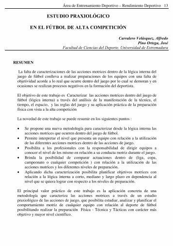 estudio praxiológico en el fútbol de alta competición - Ciencias del ...