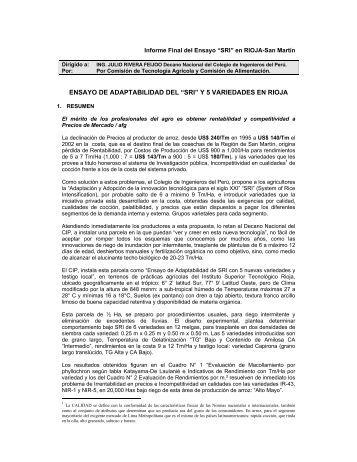 ensayo de adaptabilidad del - The System of Rice Intensification