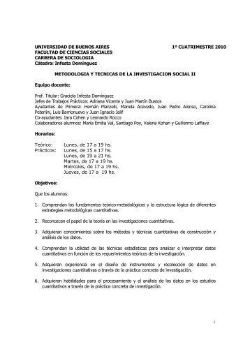 Metodología de la Investigación II - Infesta - carrera de sociología ...