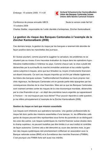 La gestion du risque des Banques Cantonales à l'exemple de la ...