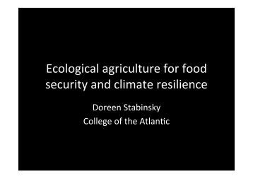 Ecological agriculture for food security and climate ... - ENSSER